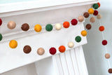 Felt Ball Garland- Burgundy, Forest Green, Orange, Brown Tan- Autumn Fall Thanksgiving