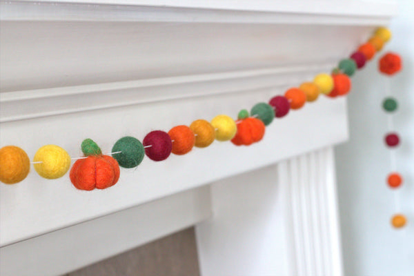Felt Pumpkin Garland- Green Burgundy Orange Gold- Felt Balls & Dark Orange Pumpkins- Fall Autumn Halloween Thanksgiving
