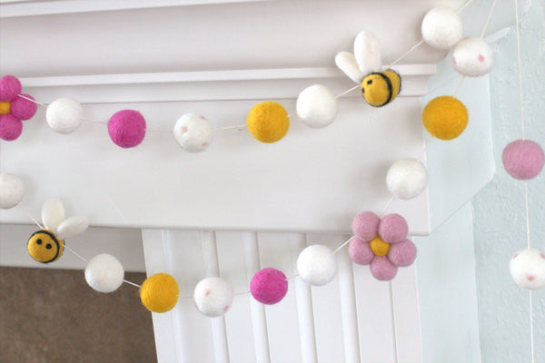 Bumble Bee & Daisy Felt Garland- Pink, Golden Yellow, White- Wool Felted Flowers, Bees and Balls- Spring Summer Easter- 100% Wool