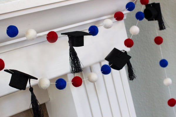 "Graduation Cap Felt Ball Garland- Red Blue White with BLACK tassels - 1"" (2.5 cm) Wool Felt Balls- Graduation Hat Party Decor Banner…"