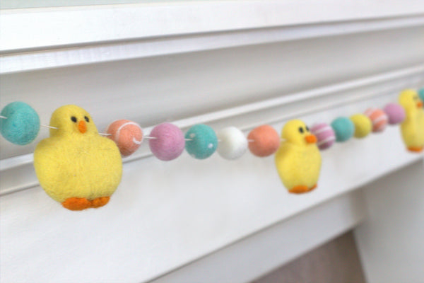 Chick Easter Felt Ball Garland- Pink, Peach, Turquoise, Yellow