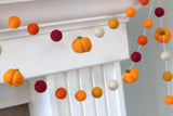 Thanksgiving Pumpkin Garland- Burgundy and Oranges- Felt Balls & Light Orange Pumpkins- Fall Autumn Halloween Thanksgiving