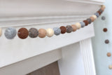 Neutral Felt Ball Garland- Brown Gray Tan- Autumn Fall Thanksgiving