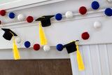 "Graduation Cap Felt Ball Garland- Red Blue White with GOLD tassels - 1"" (2.5 cm) Wool Felt Balls- Graduation Hat Party Decor Banner…"