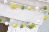 Lemon & Lime Felt Ball Garland- Yellow Green White