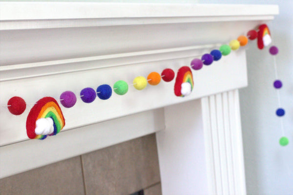 Rainbow Felt Ball Garland - ROYGBIV Classic - Wool Felt Balls- Clouds- Playroom Nursery Children's Room Decor