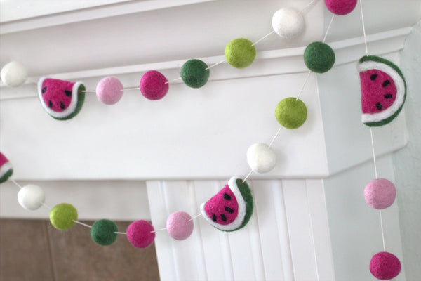 Watermelon Felt Ball Garland- Pink, Lime, Green