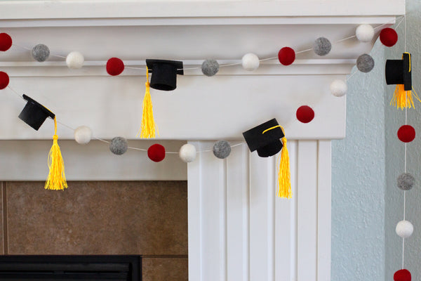 "Graduation Cap Felt Ball Garland- Red Gray White with GOLD tassels - 1"" (2.5 cm) Wool Felt Balls- Graduation Hat Party Decor Banner…"