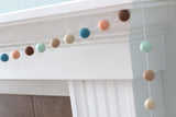 Felt Ball Garland- Teal Peach Seafoam Brown Tan- Fall Autumn- Nursery Playroom