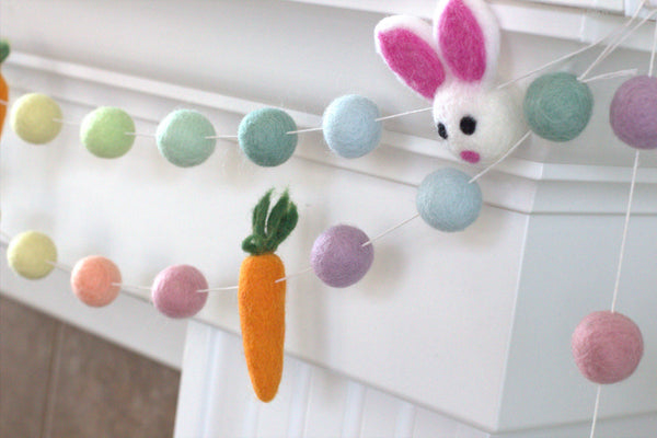Bunny & Carrot Easter Felt Ball Garland- Pastel Rainbow