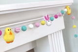 Bunny & Chick Easter Felt Ball Garland- Pink, Turquoise, Yellow
