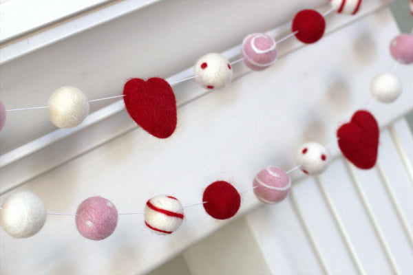 Felt Ball Garland- Hearts, Swirls & Dots in Red, Baby Pink, White