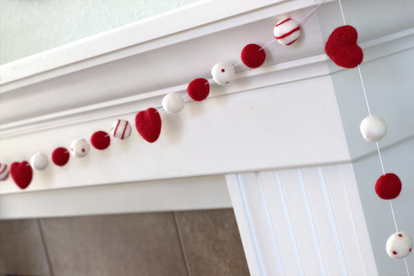 Felt Ball Garland- Hearts, Dots & Swirls- Red, White