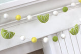 Lime Citrus Felt Ball Garland- Yellow Green & White