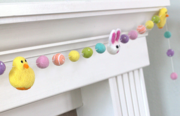 Bunny & Chick Easter Felt Ball Garland- Bright Rainbow