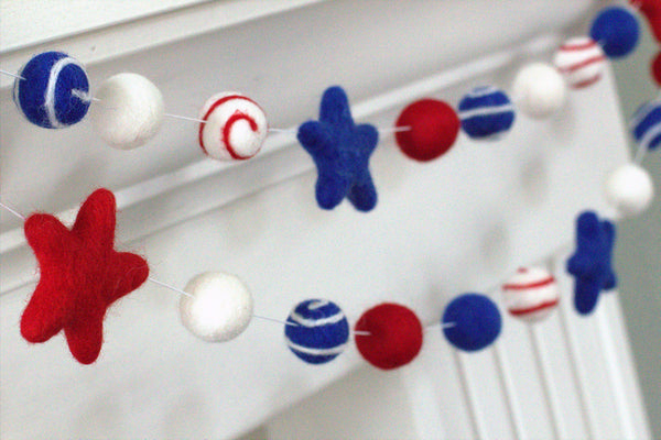 Swirls & Stars Felt Ball Fourth of July Garland- Red, White, Royal Blue