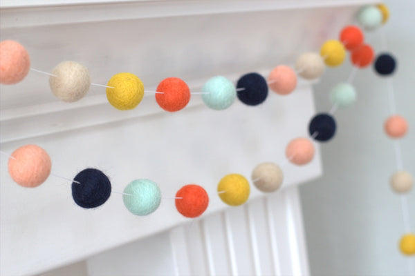 Felt Ball Garland- Coral Peach Seafoam Navy Gold Almond- Fall Autumn