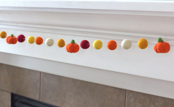 Felt Pumpkin Garland- Burgundy Orange Gold Brown- Felt Balls & Dark Orange Pumpkins- Fall Autumn Halloween Thanksgiving