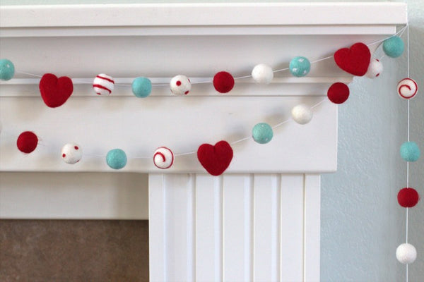Felt Ball Garland- Hearts & Swirls- Red, Turquoise, White
