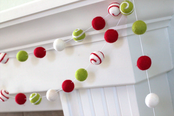 Christmas Swirl Felt Ball Garland- Red, Green, White