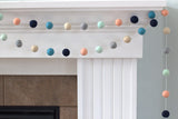 Felt Ball Garland- Navy Teal Peach Seafoam Gray Almond- Fall Autumn- Nursery Playroom