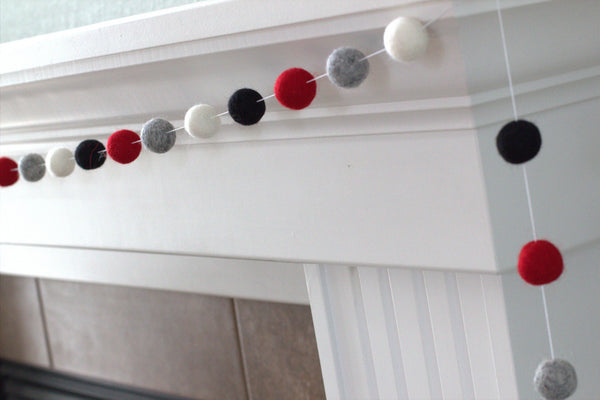 Buffalo Plaid Felt Ball Garland- Black, Gray, Red, White- Christmas Holiday