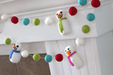 Snowman Felt Garland- Red, Turquoise & Green Snowmen & Felt Balls - Christmas Holiday Winter Decor