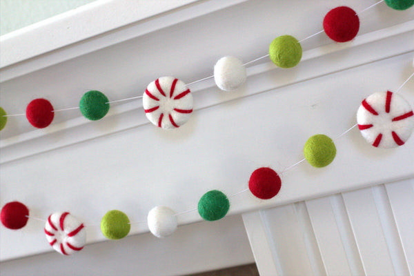 Peppermint Felt Ball Christmas Garland- Red, Kelly Green, Lime & White