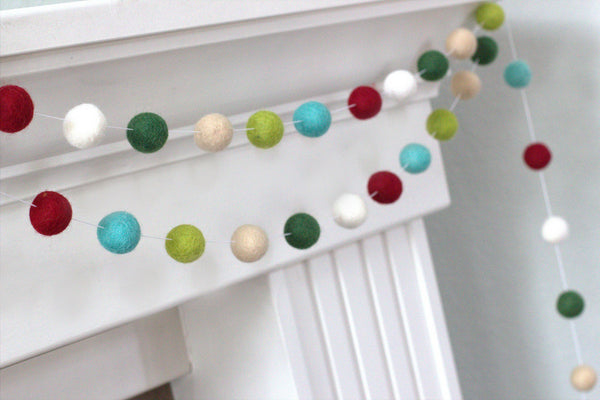 Vintage Christmas Felt Ball Garland- Burgundy, Forest, Lime, Turquoise, Almond, White- Winter Holiday Decor