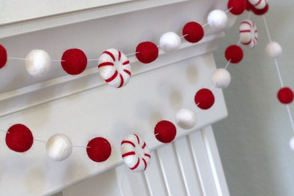 Peppermint Felt Ball Christmas Garland- Red & White