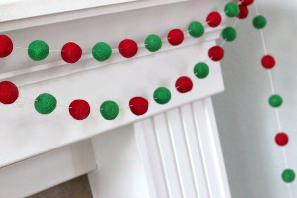 Red & Kelly Green Felt Ball Garland- Winter Christmas Holiday