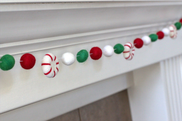 Peppermint Felt Ball Christmas Garland- Red, Kelly Green & White
