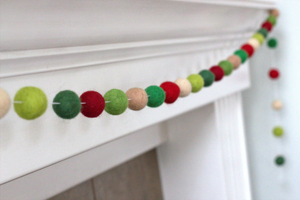 Christmas Felt Ball Garland- Shades of Green & Red, Tans - Vintage Winter Holiday