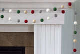 Christmas Felt Ball Garland- Burgundy, Forest, Gray, Almond, White- Winter Holiday