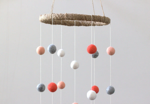 Coral, Peach, Gray & White Felt Ball Nursery Mobile SMALL SIZE