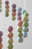 Spiral Felt Ball Mobile- Pastel Rainbow