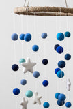 Shades of Blue Felt Ball and Stars Nursery Mobile- LARGE SIZE