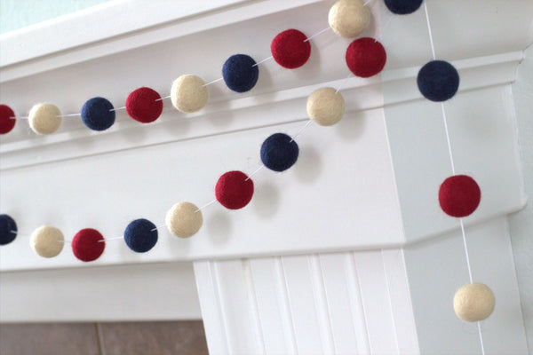 Americana Garland- Red, Blue, Ivory- Vintage Fourth of July
