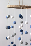 Felt Ball Mobile- Marine, Baby Blue, Gray, White- LARGE SIZE