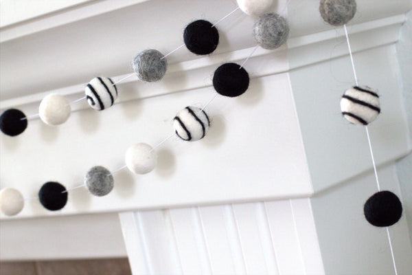 Halloween Swirl Felt Ball Garland- Black, Gray & White