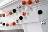 Halloween Swirl Felt Ball Garland- Black, Bright Orange & White
