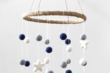 Felt Ball & Star Nursery Mobile in Navy, Gray, White- LARGE SIZE
