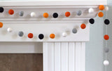 Halloween Felt Ball Garland- Black, Gray, Orange & White