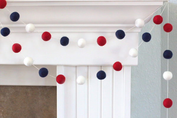 Fourth July Garland- Red, Navy Blue, White Felt Ball Garland