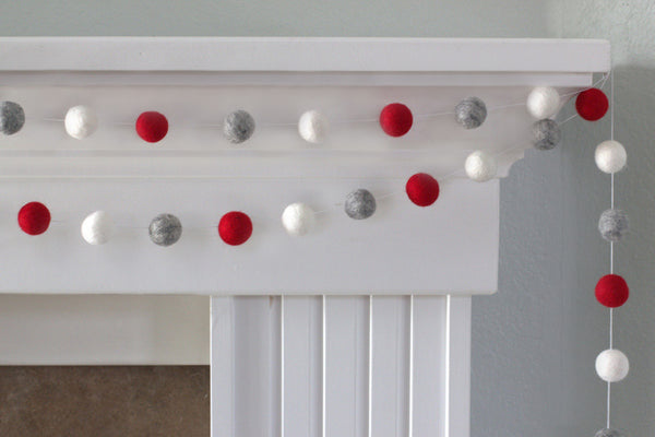 Red, Gray, White Felt Ball Garland