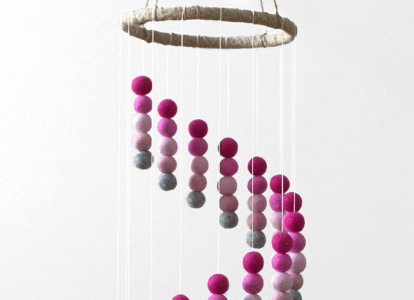 Spiral Felt Ball Mobile- Gray & Shades of Pinks