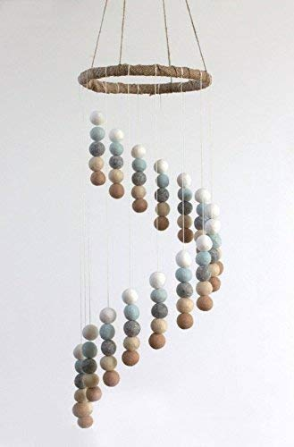 Spiral Felt Ball Mobile- Ice Blue, Tan, Almond, Gray, White
