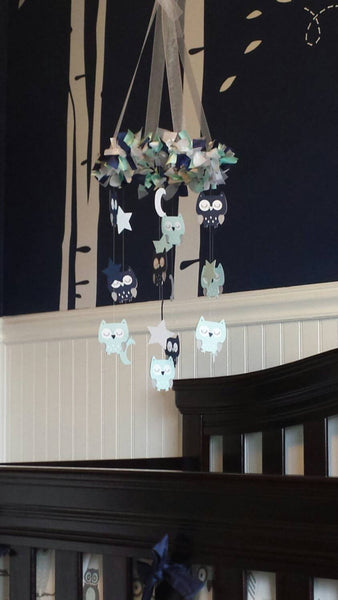 Owl Nursery Mobile in Pinks & Gray- Baby Mobile, Baby Shower Gift