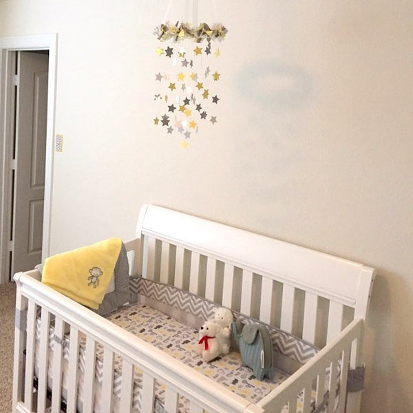 Star, Moon & Cloud Nursery Mobile- Neutral Nursery Decor, Baby Shower Gift, Baby Mobile