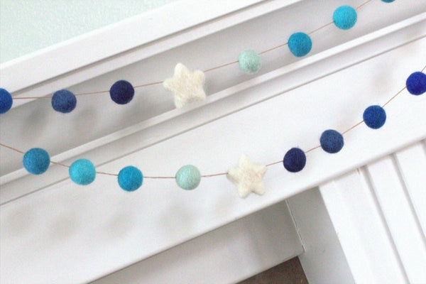 Felt Ball Garland- Shades of Blue & White Stars and Balls- Pom Pom- Nursery- Holiday- Wedding- Party- Childrens Room